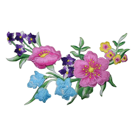 "Flower Applique Patch - Arrangement, Blooms Badge 5"" (Iron on)"