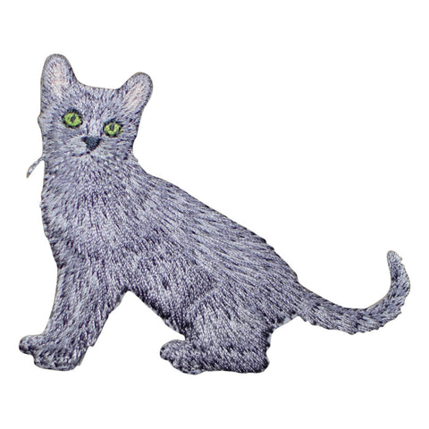 "Kitty Cat Applique Patch - Gray Feline Kitten Badge 3"" (Iron on)"