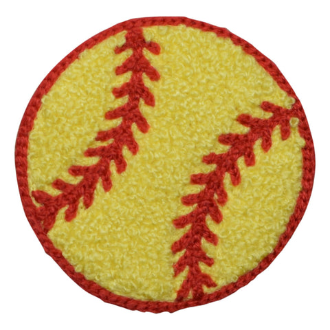 "Chenille Softball Applique Patch - Large, 3"" (Iron on)"