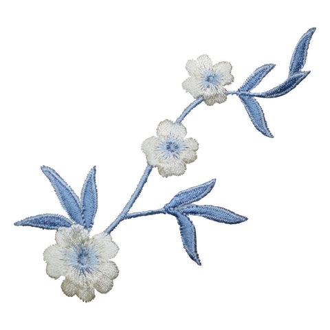 "Flower Applique Patch - Blue Stem, White Bloom Badge 4-1/8"" (Iron on)"