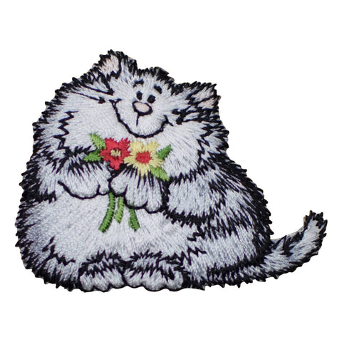 "Cat Applique Patch - Flowers, Smiling Kitty 2-3/8"" (Iron on)"