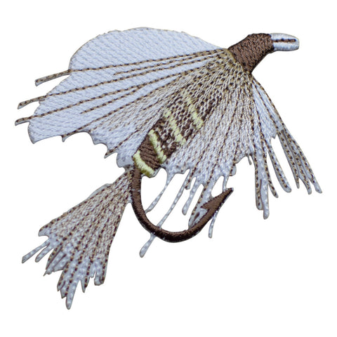 Fly Fishing Applique Patch - White, Brown (Medium, Iron on)
