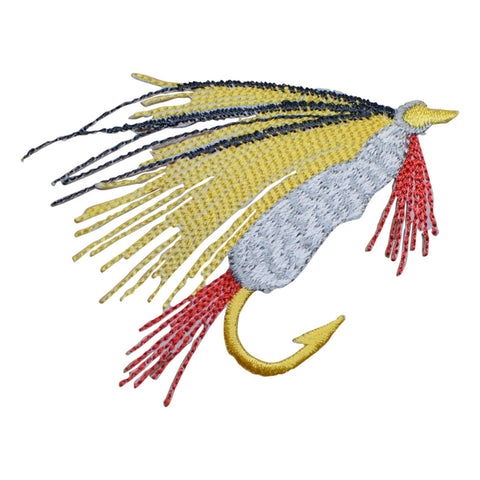 Fly Fishing Applique Patch - Yellow, Red, Black (Medium, Iron on)