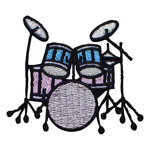 Drum Set Applique Patch - Blue and Pink (Iron on)