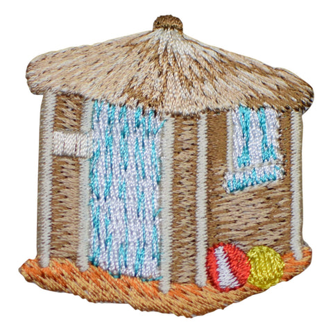 "Beach Hut Applique Patch - Thatch Roof, Beach Balls, Sandy Beach 2"" (Iron on)"