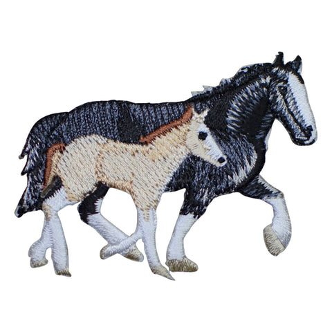 Two Horses Applique Patch - Black and Tan (Iron on)