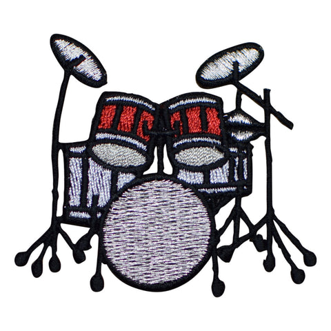 Drum Set Applique Patch - Red and White (Iron on)