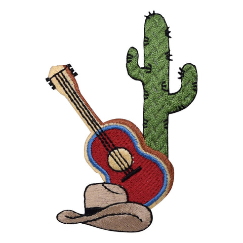 Cactus, Guitar, and Cowboy Hat Applique Patch (Iron on)