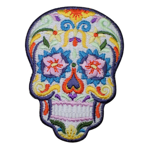 Sugar Skull Day of the Dead Applique Patch - White (Iron on)