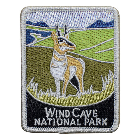 Wind Cave National Park Patch - Official Traveler Series - South Dakota, Antelope (Iron on)