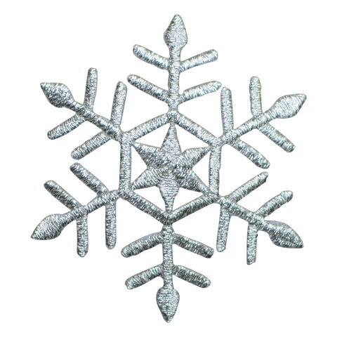 "Snowflake Applique Patch - Snow, Winter, Metallic Silver Badge 2-3/8"" (Iron on)"