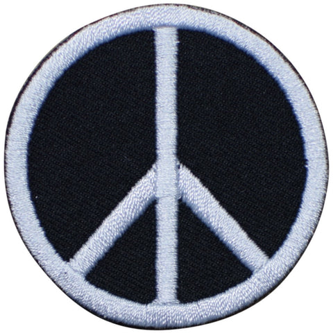 "Peace Sign Patch - World Peace, Black, White, Hippie Badge 2"" (Iron on)"