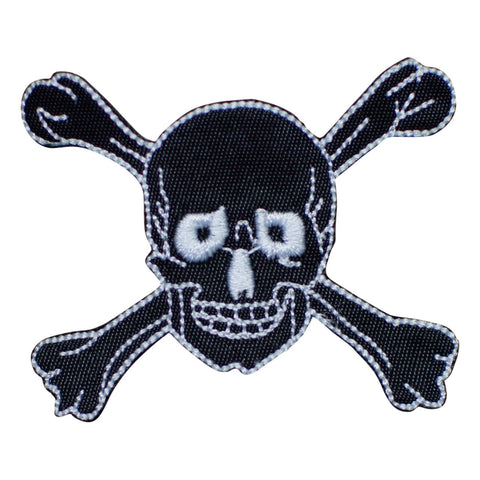 Black Skull and Crossbones Applique Patch (Iron on)