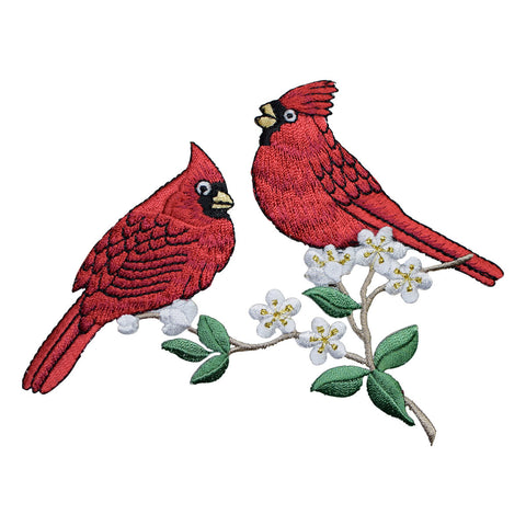 "Two Cardinal Birds Applique Patch - Branch, Flowers 5.25"" (Iron on)"