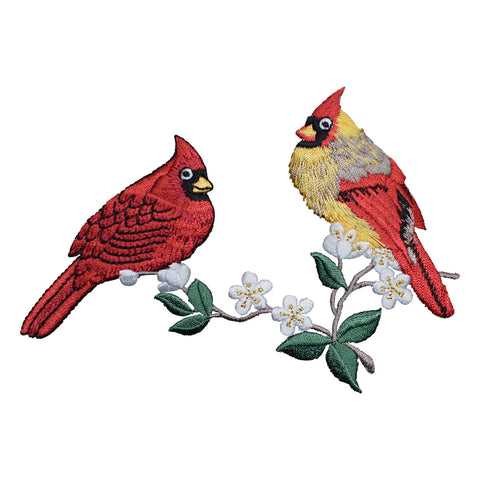 Two Cardinal Birds with Flowers Applique Patch (Large, Iron on)