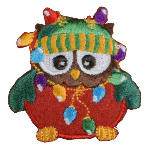 Christmas Owl with String of Lights Applique Patch (Iron on)