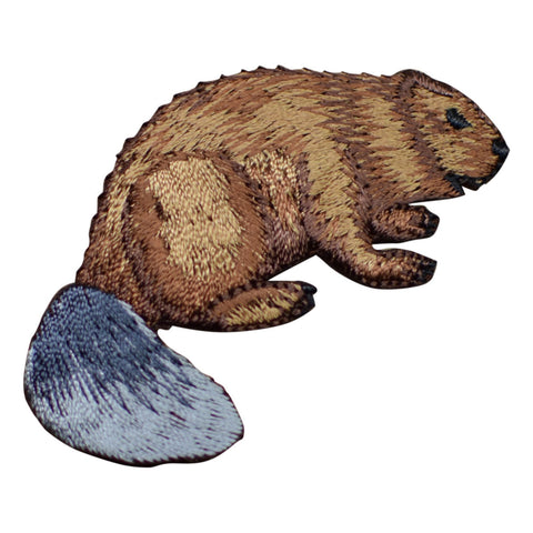"Beaver Applique Patch - Nocturnal Rodent Badge 2.5"" (Iron on)"