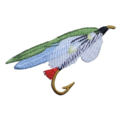Fly Fishing Applique Patch - Green, Blue, White (Medium, Iron on)