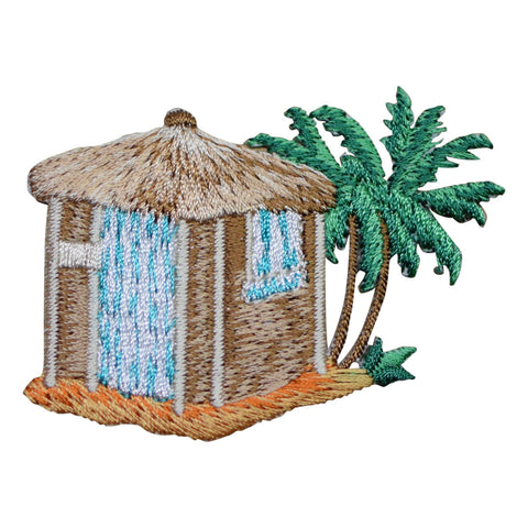 "Beach Hut Applique Patch - Thatch Roof, Palm Trees, Sandy Beach 2.75"" (Iron on)"