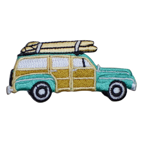 Woodie Station Wagon with Surfboards Applique Patch (Iron on)