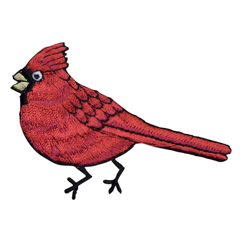 Red Male Cardinal Bird Applique Patch - Facing Left (Iron on)