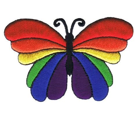 "Butterfly Applique Patch - Rainbow, Insect, Antennae, Wings 2.75"" (Iron on)"