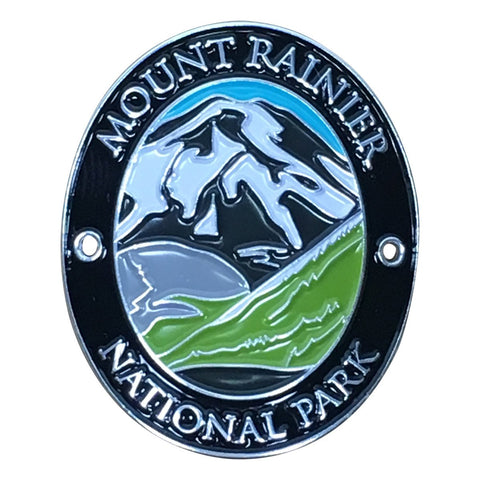 Mount Rainier National Park Walking Hiking Stick Medallion - Official Traveler Series - Washington