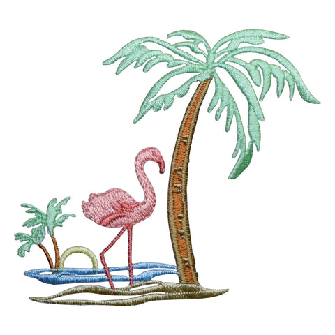 "Flamingo Palm Trees Applique Patch - Tropical Pink Waterfowl Bird 3.5"" (Iron on)"