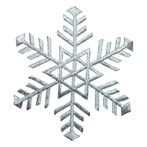 "Silver Snowflake Applique Patch - Snow, Winter Badge 3.25"" (Iron on)"