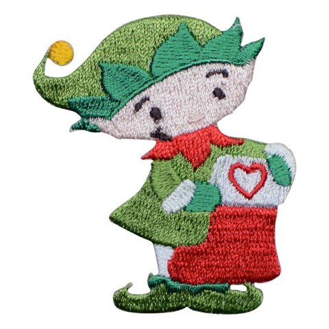 Christmas Elf with Stocking Applique Patch (Iron on)