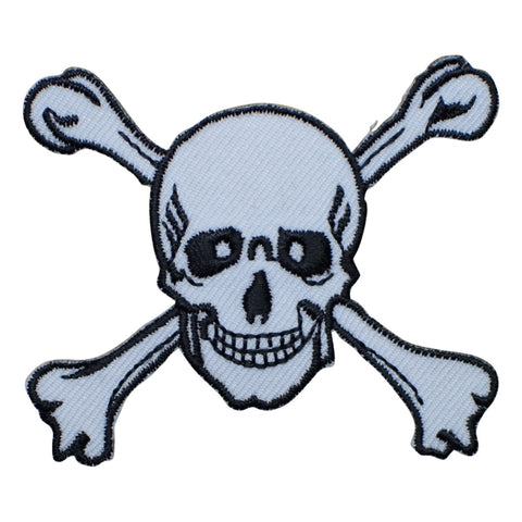 "Skull and Crossbones Applique Patch - White Skeleton Badge 2.5"" (Iron on)"