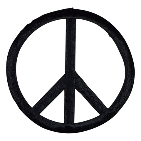 "Peace Sign Applique Patch - Black 2"" (Iron on)"