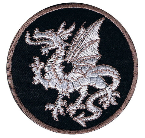 "White Dragon Applique Patch - Power, Strength, Good Luck Badge 2.75"" (Iron on)"