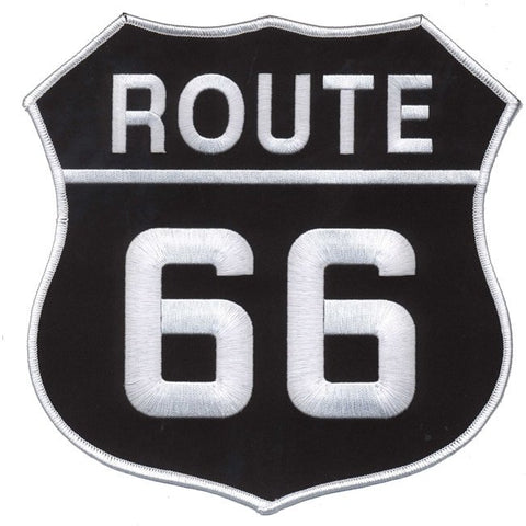 "Route 66 Patch - 8"" x 8"" White on Black - For Jackets (Iron on)"