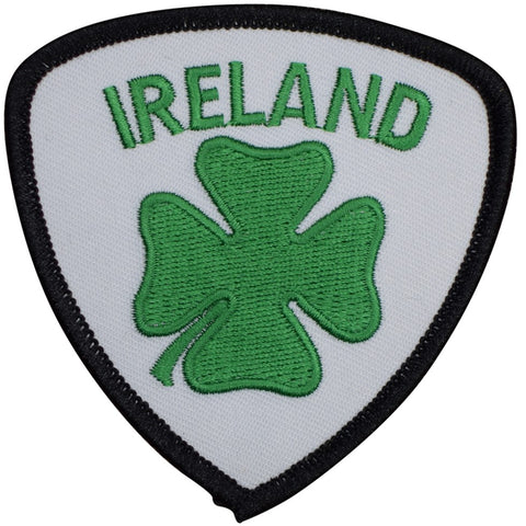 "Ireland Patch - 4 Leaf Clover, Shamrock, United Kingdom Badge 3"" (Iron on)"