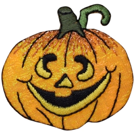 "Jack-O-Lantern Applique Patch - Halloween Pumpkin Badge 1.75"" (Iron on)"