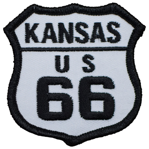 "Kansas Patch - Route 66,  Riverton, Galena, Baxter Springs 2.5"" (Iron on)"