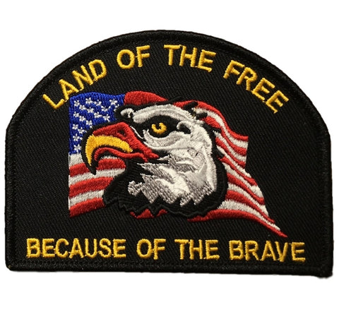 "Freedom Patch - Land of The Free, United States. USA Flag, Eagle 3.75"" (Iron on)"