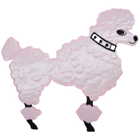 "Large Poodle Applique Patch - Pink Dog Facing Right, Sock Hop 6"" (Iron on)"