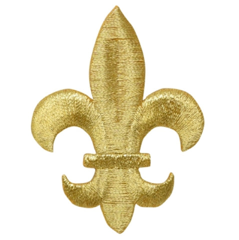"Fleur De Lis Applique Patch - Metallic Gold, Saints Badge 2-5/8"" (Iron on)"