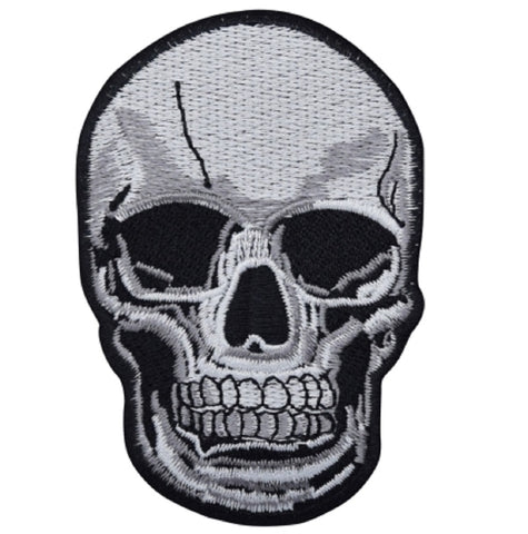 "Human Skull Applique Patch - Homo Sapiens Head, Skeleton 4"" (Iron on)"
