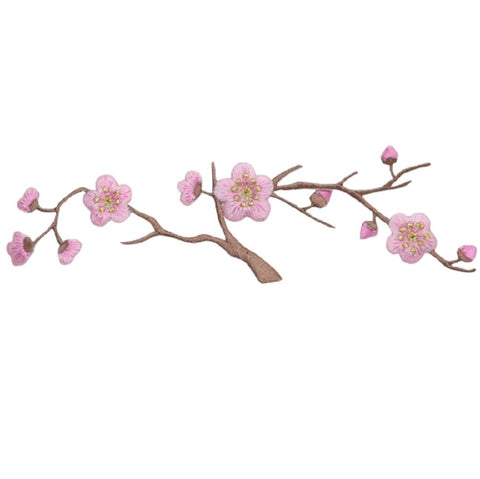 "Cherry Blossom Applique Patch - Branch , Flower, Tree Badge 5.75"" (Iron on)"