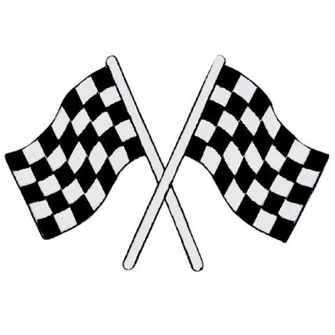 "Checkered Flags Applique Patch - Race Track, Racing Badge 4"" (Iron on)"