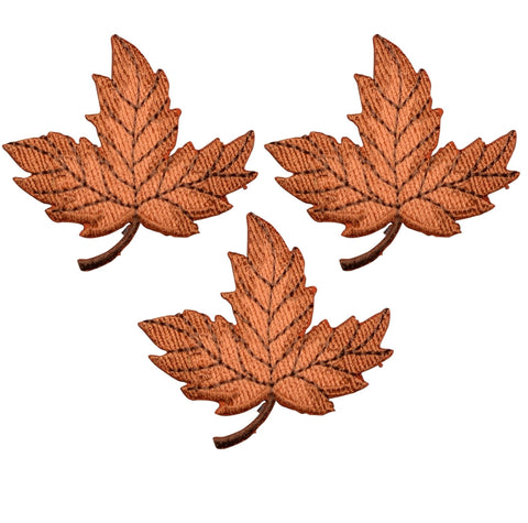 Autumn Leaf Applique Patch - Orange and Brown  Fall Colors (3-Pack, Iron on)