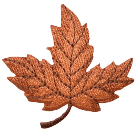 "Autumn Leaf Applique Patch - Orange and Brown Fall Colors 2-1/8"" (Iron on)"