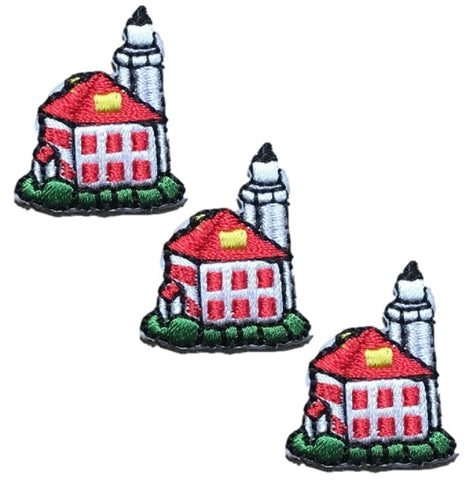 Small Lighthouse Applique Patch (3-Pack, Mini, Iron on)