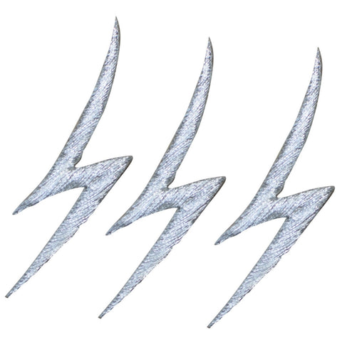 "Lightning Bolt Applique Patch - Silver, Electricity 2-1/8"" (3-Pack, Iron on)"