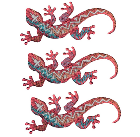 "Lizard Applique Patch - Southwest, Reptile Badge 3"" (3-Pack, Iron on)"