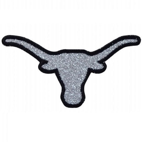"Longhorn  Applique Patch - Sparkly Bull Skull, Cowboy Western Badge 4"" (Iron on)"