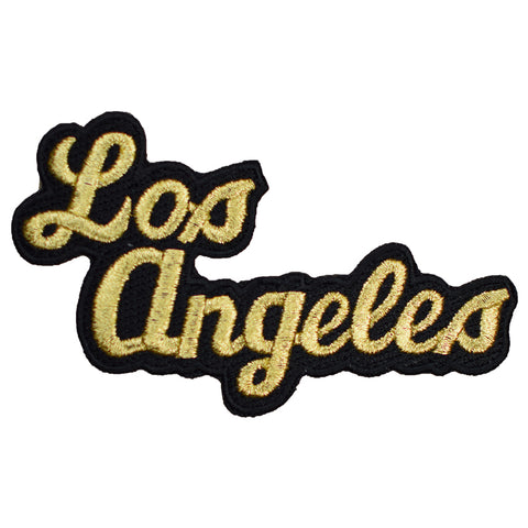 "Los Angeles Patch - California, Gold, Black, CA Badge 4"" (Iron on)"